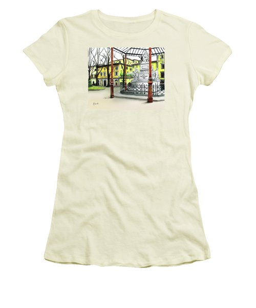 Women's T-Shirt (Junior Cut) featuring the painting Silla Hotel Piazza Demidoff Florence by Albert Puskaric