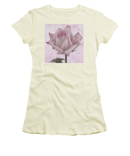 Single Pink Rose Blossom Women's T-Shirt (Junior Cut) by Sandra Foster