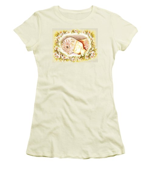 Women's T-Shirt (Junior Cut) featuring the painting Sleeping Baby Vintage Dreams by Irina Sztukowski