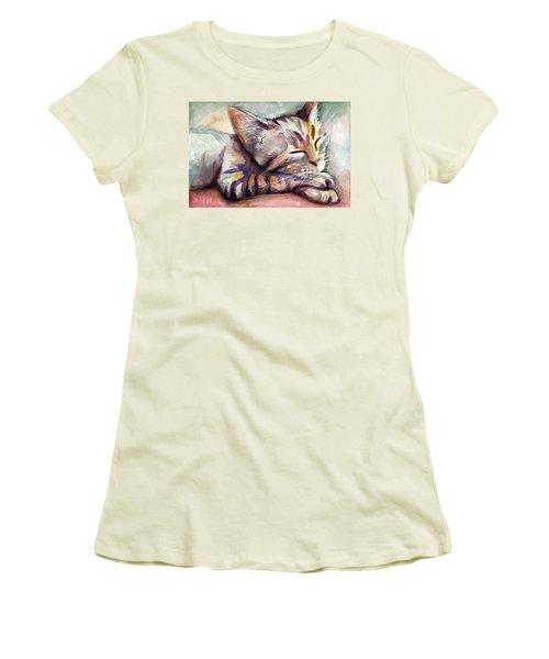 Sleeping Kitten Women's T-Shirt (Junior Cut) by Olga Shvartsur