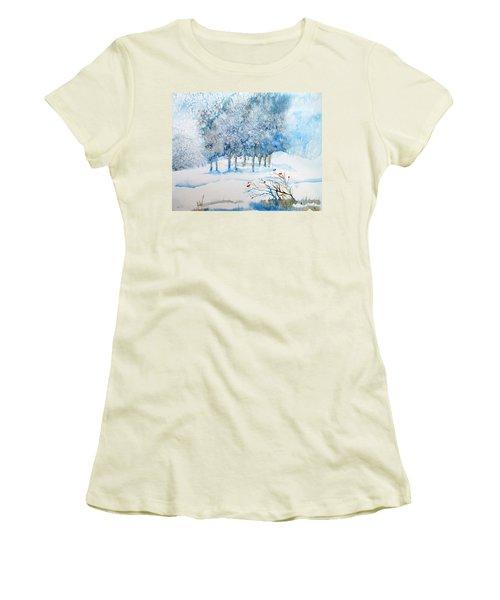 Snow Blizzard In The Grove  Women's T-Shirt (Junior Cut) by Trudi Doyle