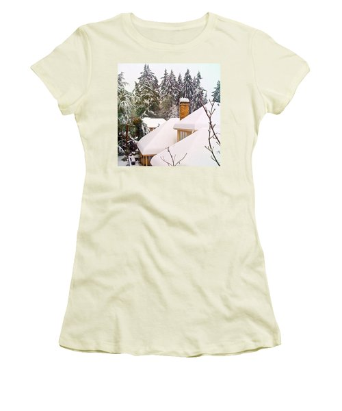 Snow Covered Rooftops - Winter In Lake Oswego Or Women's T-Shirt (Junior Cut) by Anna Porter