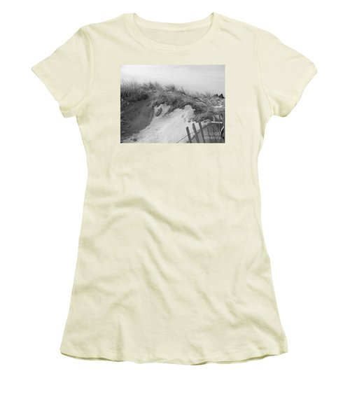 Women's T-Shirt (Junior Cut) featuring the photograph Snow Covered Sand Dunes by Eunice Miller