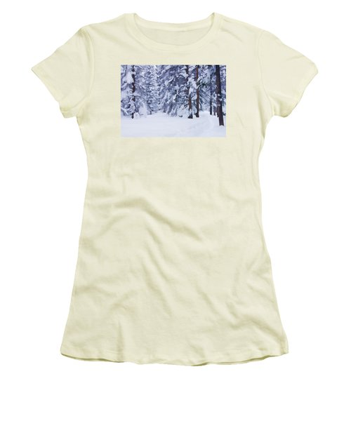 Snow-dappled Woods Women's T-Shirt (Junior Cut) by Don Schwartz