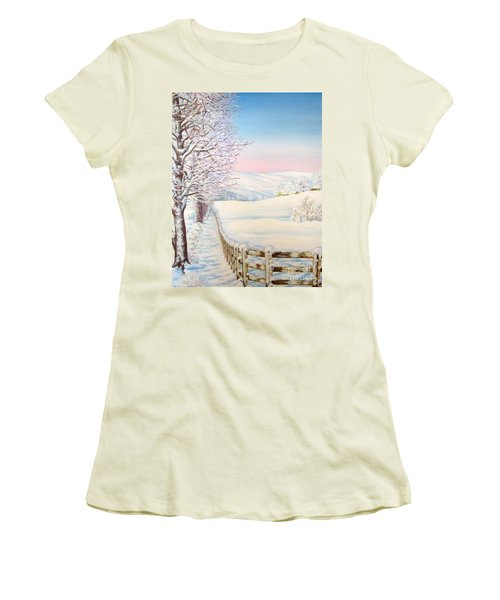 Women's T-Shirt (Junior Cut) featuring the painting Snow Path by Inese Poga