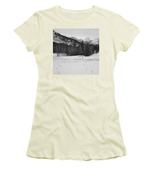 Snow Prints Women's T-Shirt (Athletic Fit)