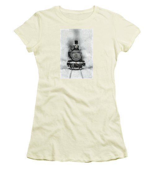 Snow Train Women's T-Shirt (Junior Cut) by Dragica  Micki Fortuna