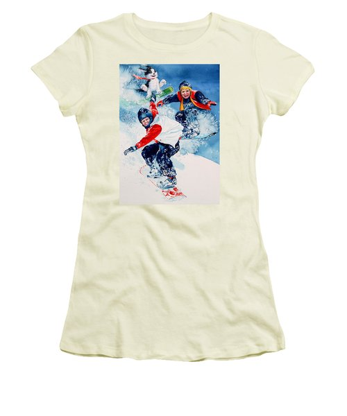 Women's T-Shirt (Athletic Fit) featuring the painting Snowboard Super Heroes by Hanne Lore Koehler