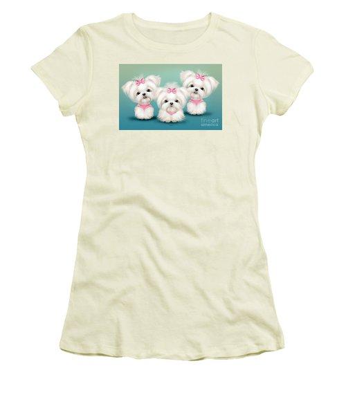Snowflakes  Women's T-Shirt (Junior Cut) by Catia Cho