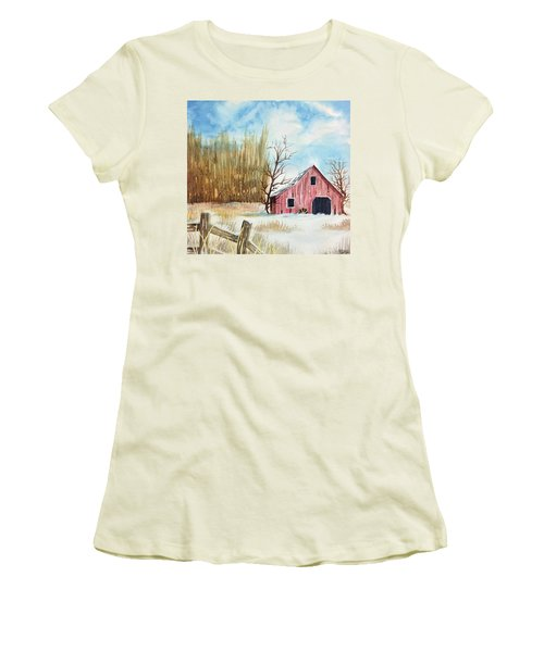 Snowy Barn Women's T-Shirt (Athletic Fit)