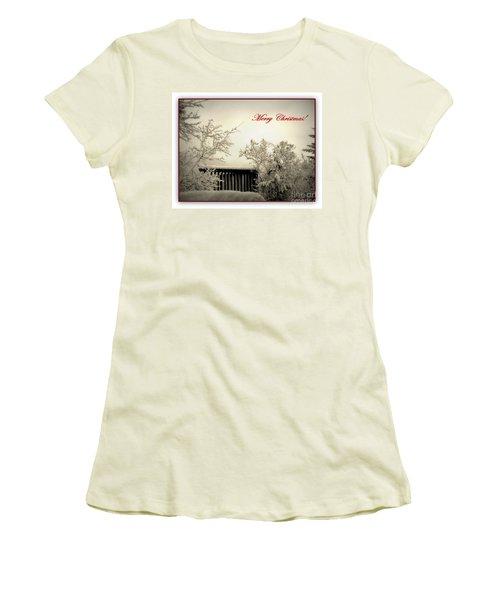 Snowy Christmas Women's T-Shirt (Junior Cut) by Leone Lund