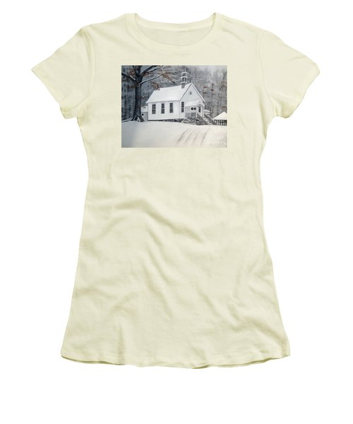 Snowy Gates Chapel  -little White Church - Ellijay Women's T-Shirt (Athletic Fit)