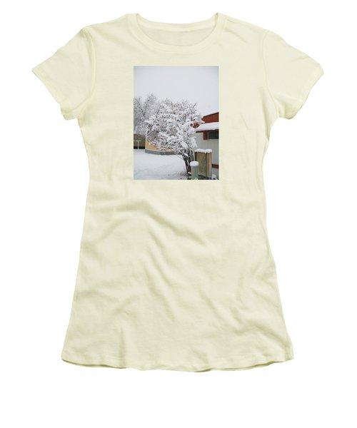 Women's T-Shirt (Junior Cut) featuring the photograph Snowy Lilac by Jewel Hengen