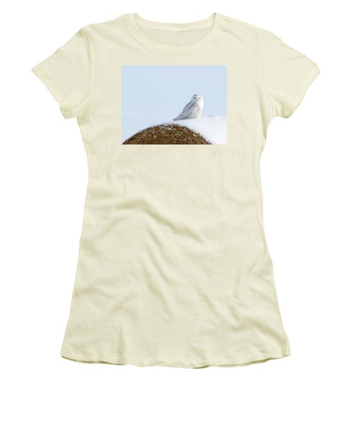 Women's T-Shirt (Junior Cut) featuring the photograph Snowy Owl by Alyce Taylor