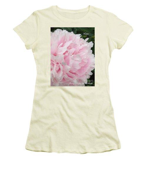 Women's T-Shirt (Junior Cut) featuring the digital art Soft Pink Peony by Jeannie Rhode
