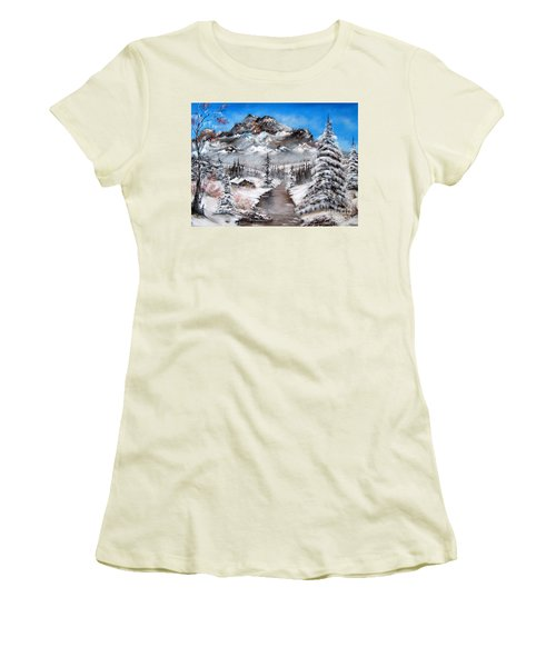 Women's T-Shirt (Junior Cut) featuring the painting South Dakota Morning by Patrice Torrillo
