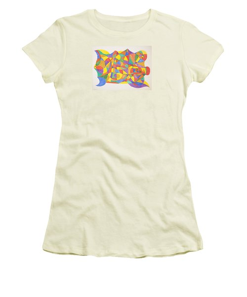 Women's T-Shirt (Junior Cut) featuring the painting Space Craft by Stormm Bradshaw