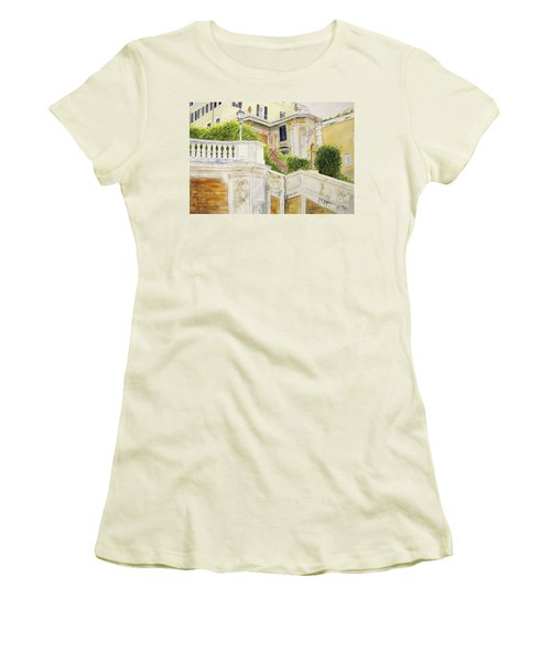 Women's T-Shirt (Junior Cut) featuring the painting Spanish Steps by Carol Flagg