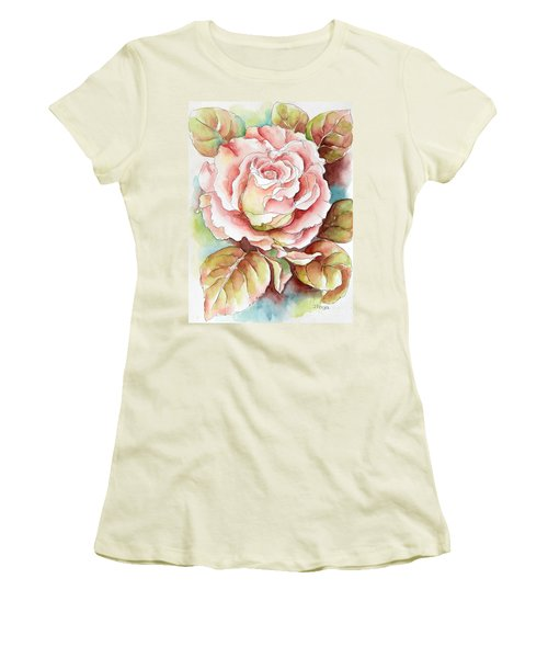 Women's T-Shirt (Junior Cut) featuring the painting Spring Rose by Inese Poga