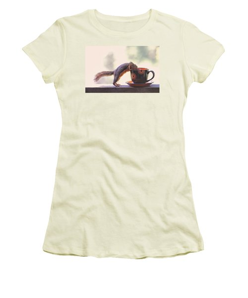 Squirrel And Coffee Women's T-Shirt (Athletic Fit)