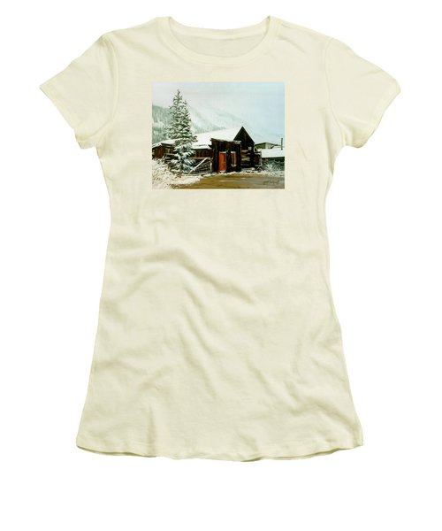 Women's T-Shirt (Junior Cut) featuring the painting St Elmo Snow by Craig T Burgwardt