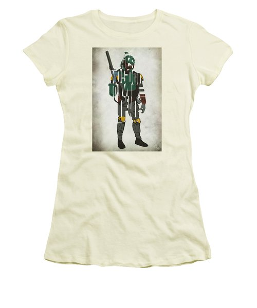 Star Wars Inspired Boba Fett Typography Artwork Women's T-Shirt (Athletic Fit)