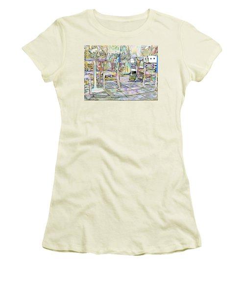 Women's T-Shirt (Junior Cut) featuring the digital art Starbucks After Hours by Mark Greenberg