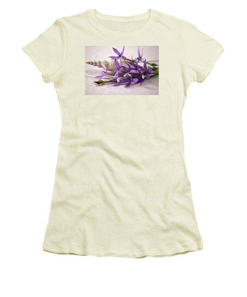 Starshine Laurentia Flowers And White Shell Women's T-Shirt (Junior Cut) by Sandra Foster