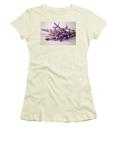 Starshine Laurentia Flowers And White Shell Women's T-Shirt (Athletic Fit)