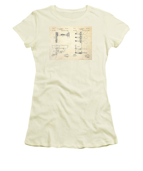 1885 Steinway Piano Pedal Patent Art Women's T-Shirt (Athletic Fit)