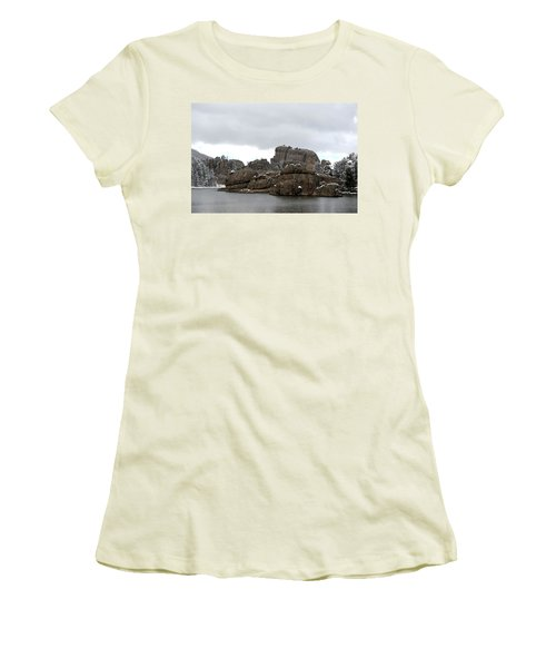 Women's T-Shirt (Junior Cut) featuring the photograph Sylvan Lake In October by Clarice  Lakota