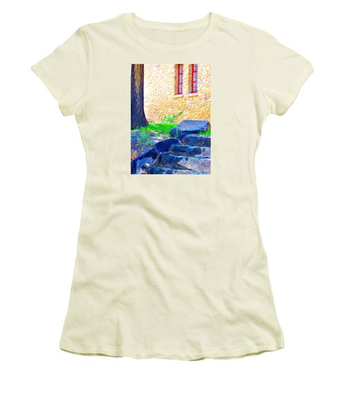 Women's T-Shirt (Junior Cut) featuring the photograph Stone Steps by Marilyn Diaz