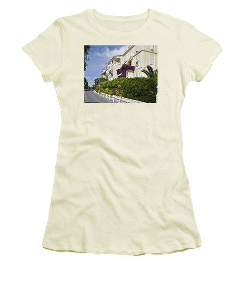 Women's T-Shirt (Junior Cut) featuring the photograph Street In Monaco by Allen Sheffield
