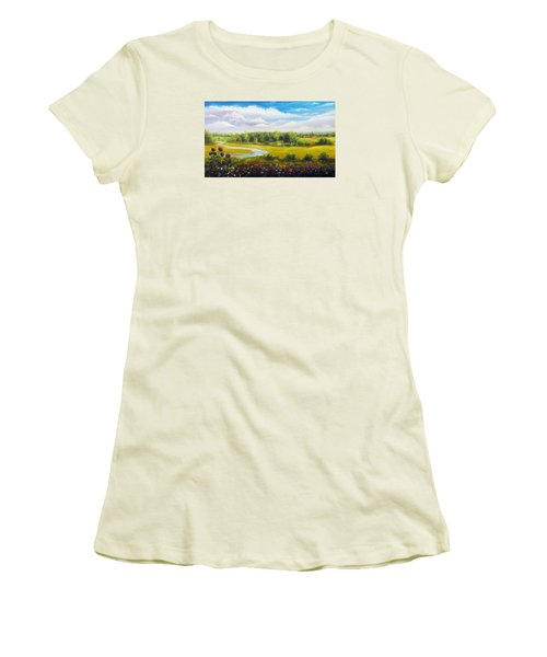 Women's T-Shirt (Junior Cut) featuring the painting Summer Day by Vesna Martinjak