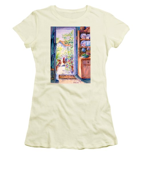Sunlit Cottage Doorway  Women's T-Shirt (Junior Cut) by Trudi Doyle
