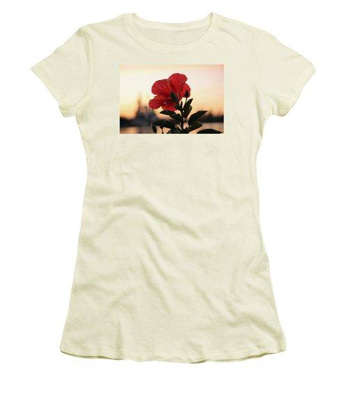 Women's T-Shirt (Junior Cut) featuring the photograph Sunset Flower by Cynthia Guinn