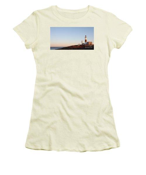 Sunset Over Montauk Lighthouse Women's T-Shirt (Junior Cut) by John Telfer