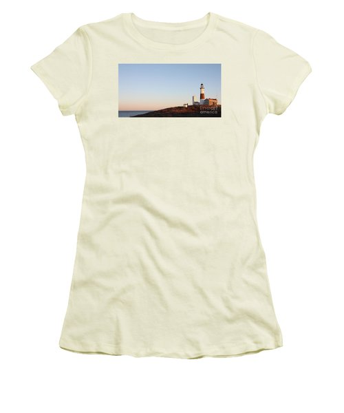 Sunset Over Montauk Lighthouse Women's T-Shirt (Athletic Fit)
