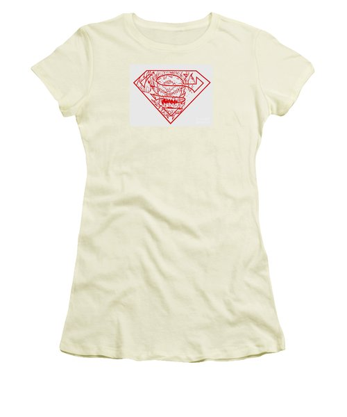 Women's T-Shirt (Junior Cut) featuring the drawing Superman And Doomsday Red by Justin Moore