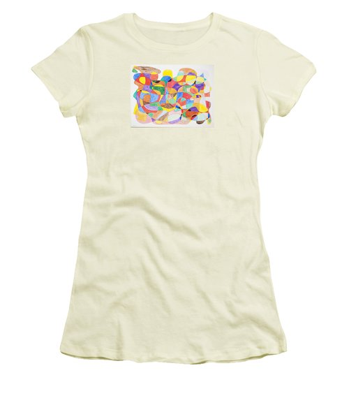 Women's T-Shirt (Junior Cut) featuring the painting Abstract Dance Party  by Stormm Bradshaw
