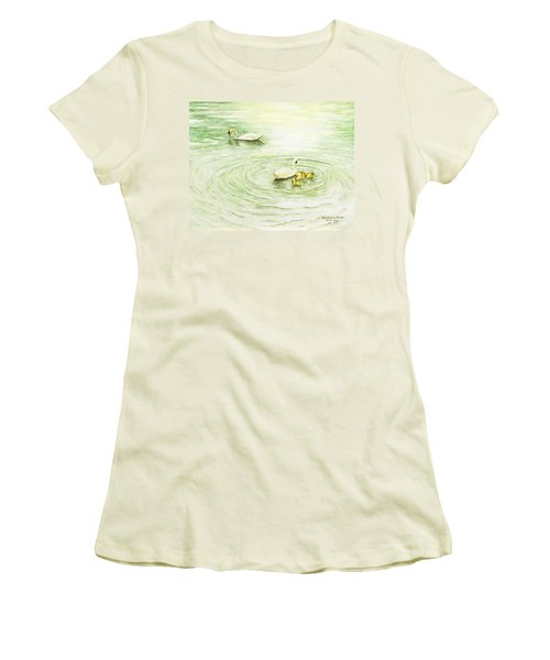 Swans In St. Pierre Women's T-Shirt (Athletic Fit)