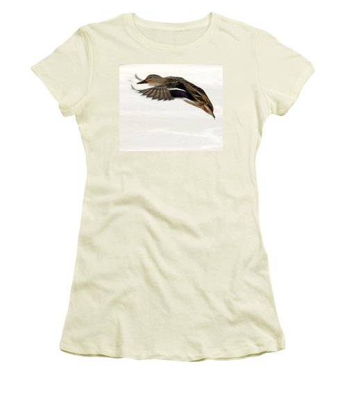 Taking Off Women's T-Shirt (Junior Cut) by John Telfer