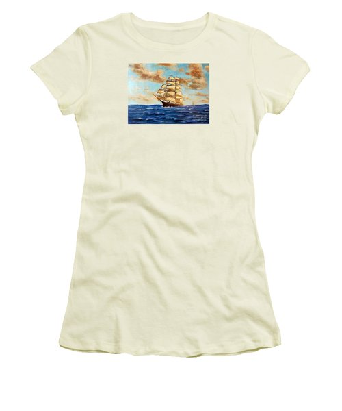 Tall Ship On The South Sea Women's T-Shirt (Junior Cut) by Lee Piper