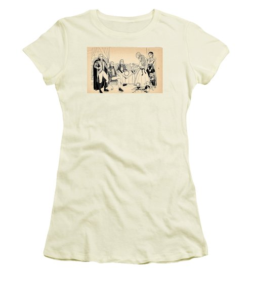 Women's T-Shirt (Junior Cut) featuring the drawing Tammy Meets Betsy Ross by Reynold Jay