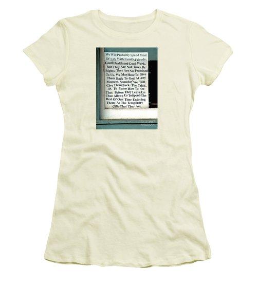 Temporary Gifts Women's T-Shirt (Junior Cut) by Joe Jake Pratt
