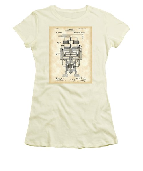 Tesla Electric Generator Patent 1894 - Vintage Women's T-Shirt (Athletic Fit)