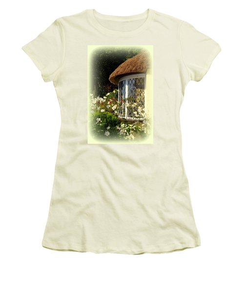 Thatched Cottage Window Women's T-Shirt (Athletic Fit)