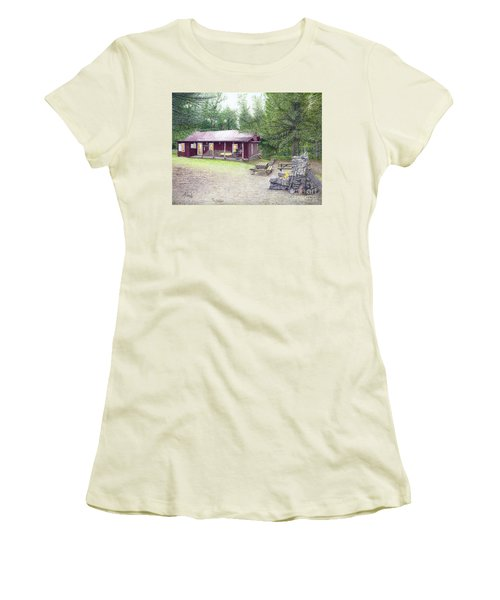 Women's T-Shirt (Junior Cut) featuring the painting The Cabin In The Woods by Albert Puskaric