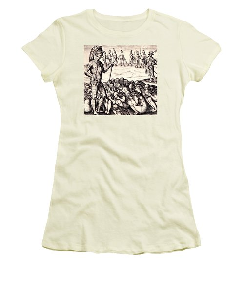 Women's T-Shirt (Junior Cut) featuring the drawing The Chieffe Applyed To By Women by Peter Gumaer Ogden