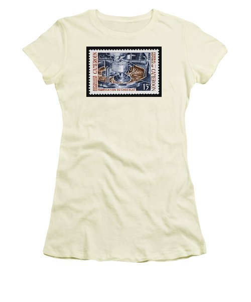 The Chocolate Factory Vintage Postage Stamp Women's T-Shirt (Athletic Fit)